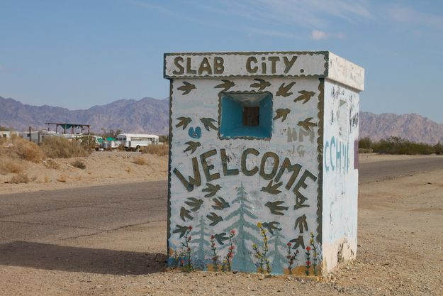 Slab City, California - City of wanderlust and art: A former Marine camp, Slab City is now home to thousands of campers living in RVs and squatting in abandoned structures left over from the site's past identity. There's no government, electricity, or running water, but the town does have its own library and sculpture garden.