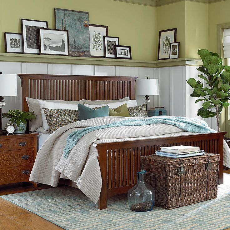Lime Green, Teal & White Bedroom -- Grove Park Gallery Bed by Bassett -- sale: $999 (queen size) -- Mission/Craftsman/Prairie Style Bedroom Furniture