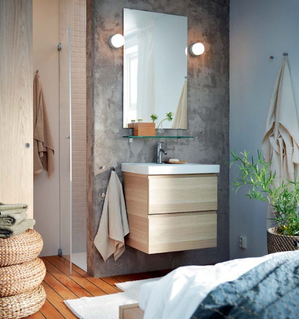 Is page 84 of the new IKEA Catalogue your favourite? Click through to see more ideas from the catalogue!: Bathroom Design, Concrete Wall, De Bain, Bathroom Ideas, Sink, House, Ikea Bathroom, Room