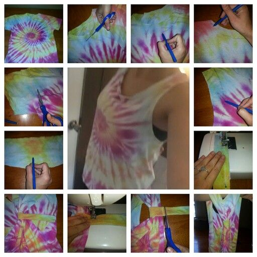 DIY workout shirt! 1. Take an old t-shirt to turn into a workout shirt. 2. Cut out the neck. 3. With a pen draw around the neck to make it hang lower and cut out. 4. Do the same to the back, just not as low. 5. Cut on the seem of the sleeves. 6. Draw around the sleeves to make them more open and cut. 7. Take one of the sleeves and cut to make one long strip. 8. Pin right sides in and sew together then turn right side in. 9. Rap the sewn sleeve around the back of the shirt. 10. Sew the strip…