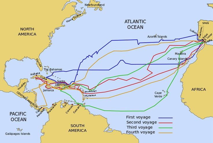 The four voyages of Columbus are shown here. (Wikimedia Commons).......AND HE NEVER SET FOOT ON U.S.AMERICAN SOIL !