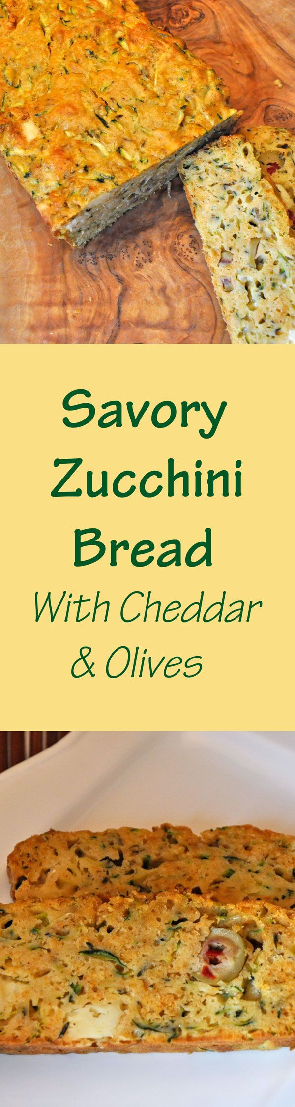 Tired of sweet zucchini breads? Try this Savory Zucchini Bread with Olives, Cheese and Herbs - great with soups & salads #zucchinibread #savorybread