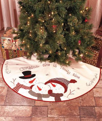 "Embroidered Snowman Collection: TREE SKIRT ""Christmas time is family time."" The 46"" dia. Tree Skirt completes the coordinated look. Snowman family shares a holiday greeting with your family. $14.95"