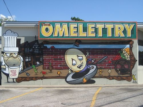 The Omelettry, Austin TX  This Rosedale breakfast diner was started by an ambitious hippie from California and spawned both Magnolia Café and Kerbey Lane Café. Open since 1978, they'll move to a new location on Airport Boulevard later this year.