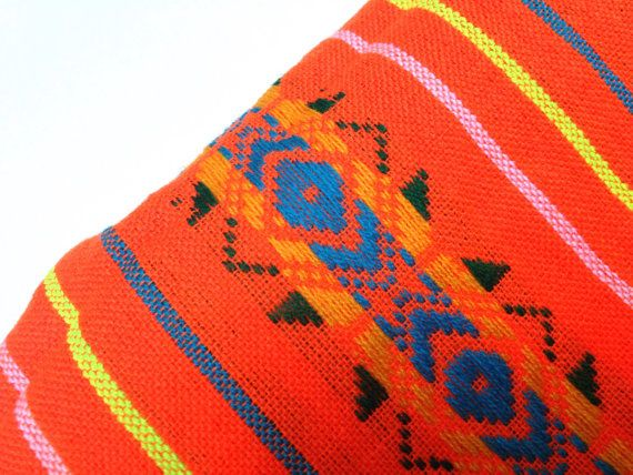 Orange Mexican Fabric Aztec Pattern Cambaya by NellywithWings