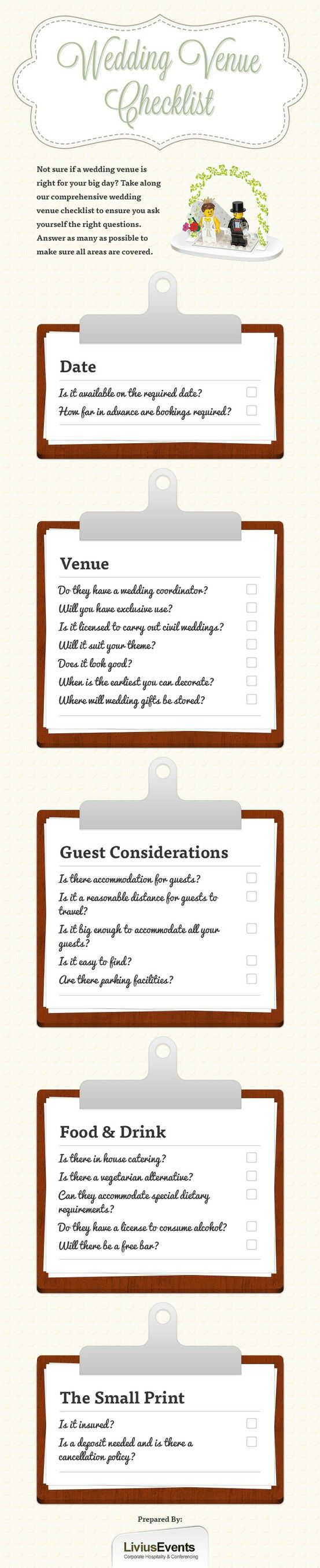 Not Sure If A Wedding Venue Meets All Requirements Use This Visual Checklist