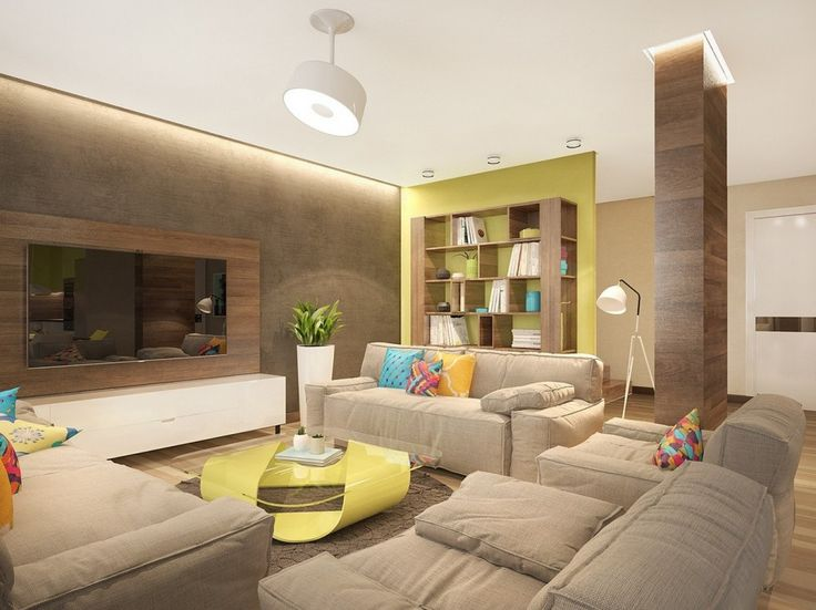Decoration: Awesome Mobius Strip Coffee Table On Brown Rugs Combined With  Neat Overhead Light Also Foamy Sofa Sets And Colorful Cushions For Modern Apartment Living Roomde Design Ideas: Elegant Family Home Features Brilliant Tropical Colors
