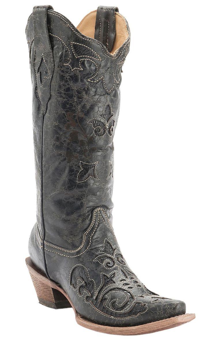 Corral Ladies Vintage Black Lizard Inlay & Bone Stitching Snip Toe Western Boots