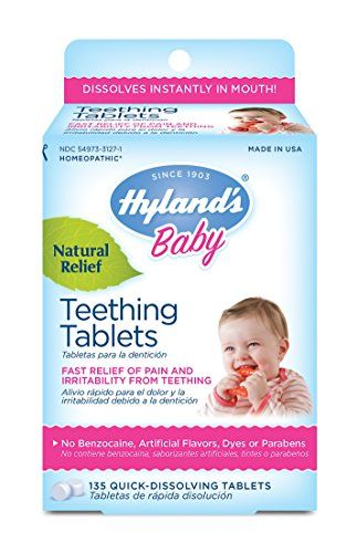Hyland's Baby Teething Tablets, Safe and Natural Relief of Teething Pain and Irritability in Infants and Babies, 67 Doses, 135 Total Tablets Hyland's Homeopathic http://www.amazon.com/dp/B005F0CQ9I/ref=cm_sw_r_pi_dp_p1w-wb12S7HBK