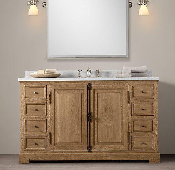 French casement extra wide single vanity sink 55 w x 23 for Master bathroom vanity single sink