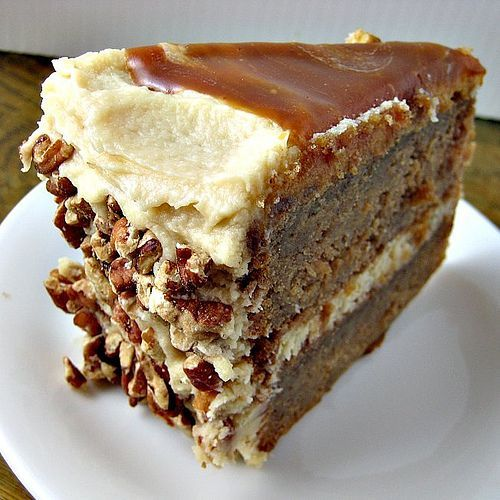 apple-spice layer cake with caramel swirl icing: