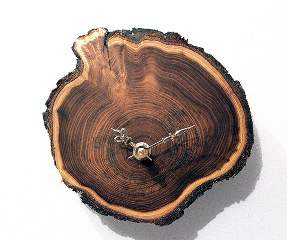 Live edge wood clock made from Russian olive with by RongDesigns