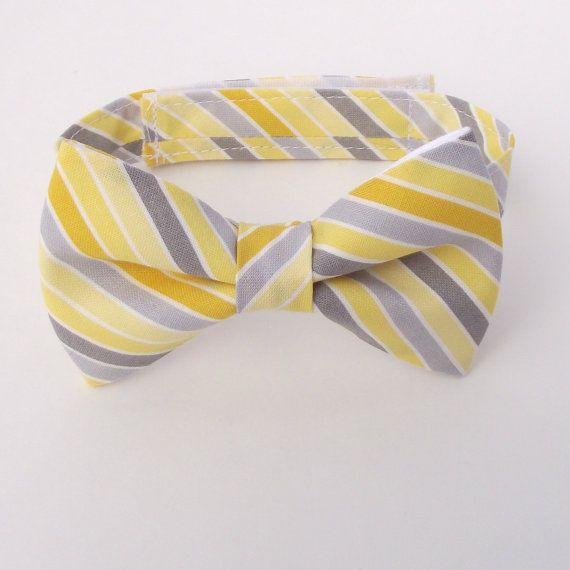 Boy's Bow Tie, Yellow and Grey Bow Tie, Striped Bow Tie, Bias Stripe, Diagonal Stripe, Ring Bearer Gift, Canary, Steel, Sunny