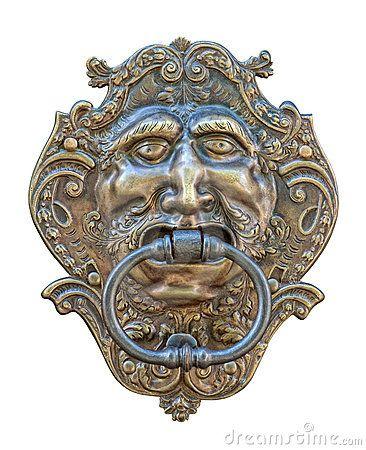 * Aldrava de Porta medieval. Entalhe de Bronze de cabeça humana. *