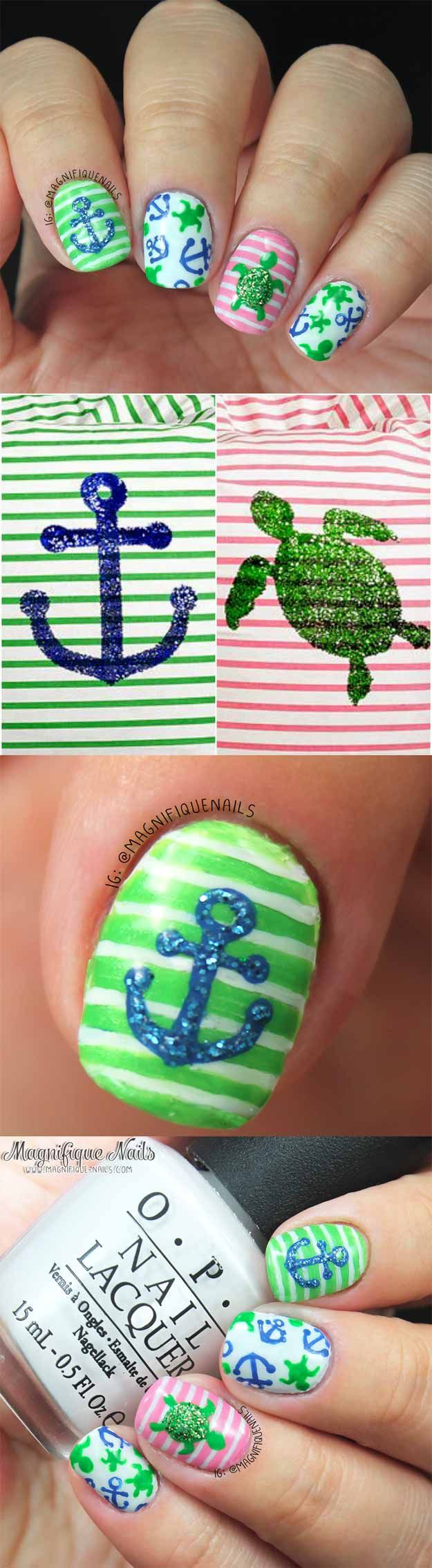 Nail Art Designs For Your Beach Vacation - Summertime Nails - Give Yourself an Awesome New Style With One of These Manicures - Nailart with Palm Trees, Polka Dots, Sea Turtles and Designs For Just the Ring Finger - Blue China Glaze Designs and Toe Nail Art and Simple Glitter Pedicures - https://thegoddess.com/nail-art-designs-for-the-beach