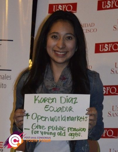 Karen from Ecuador has a priority of opening world markets for the post-2015 development agenda.