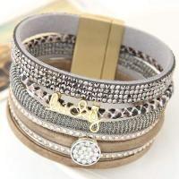 Enlish Letter  Diamond Decorated Multilayer Design Gray