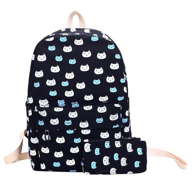 2pcs Preppy Canvas Backpack Set Cute Cat Backpack Floral Printed School Bags for Teenage Girls Cartoon Print Rucksack Mochilas