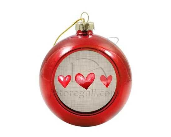 Palla di Natale in vetro colorato Hearts for you
