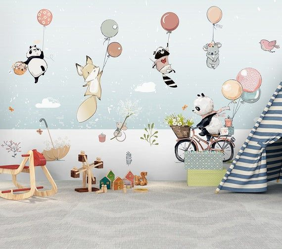 Les Enfants Papier Peint Mural Animal Mignon Cartoon Murale Hiver