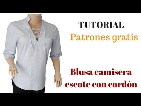 DIY Cómo hacer una blusa camisera escote con cordón corte y confección - YouTube