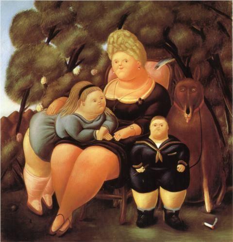 The Family (1966) by Colombian artist Fernando Botero (born 1932).