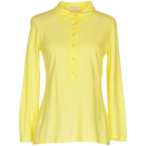 Capobianco Polo Shirt ($105) ❤ liked on Polyvore featuring tops, yellow, yellow polo shirt, long sleeve polo shirts, jersey polo shirts, beige polo shirt and long sleeve jersey top
