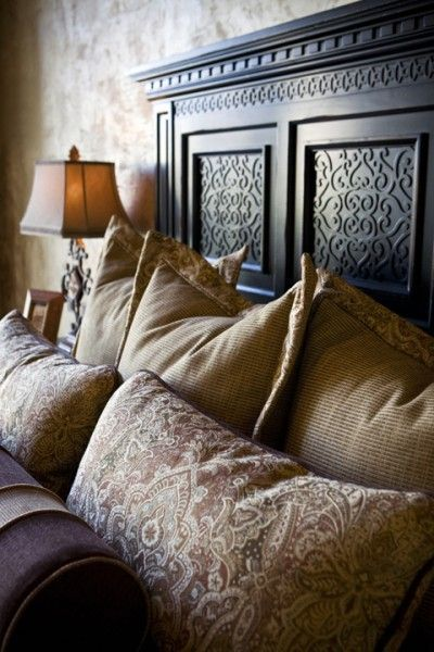 Old world bedroom decor: You can never have too many pillows on your queen size bed!
