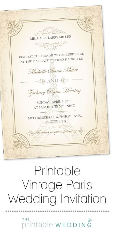 This vintage Parisian themed wedding invitation would be the perfect introduction to a romantic evening wedding under the stars. With an aged paper effect, this invite features the wedding details front and center, along with the Eiffel Tower surrounded by floral details and elegant flourishes. Subtle and classic, this invitation allows you to create an understated Paris themed wedding, while still adding your own unique touches. | Printable Vintage Paris Wedding Invitation from…