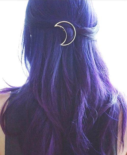 Silver moon crescent hair clip por Tigrresse en Etsy