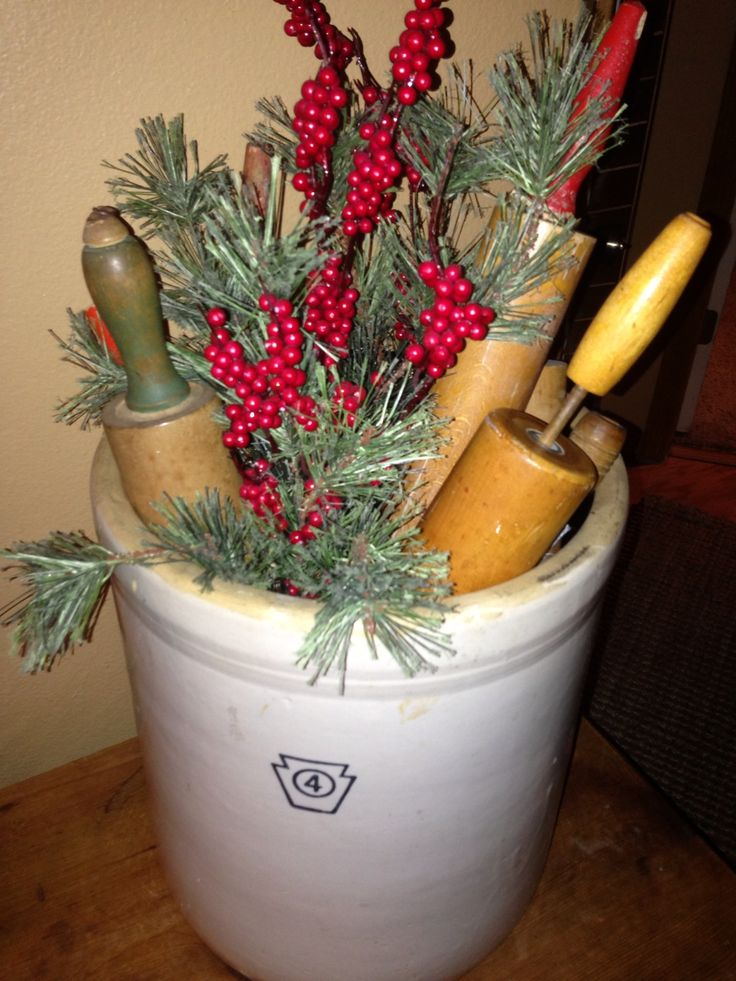 Four-Gallon Crock Filled With Vintage Rolling Pins & Pine Branches