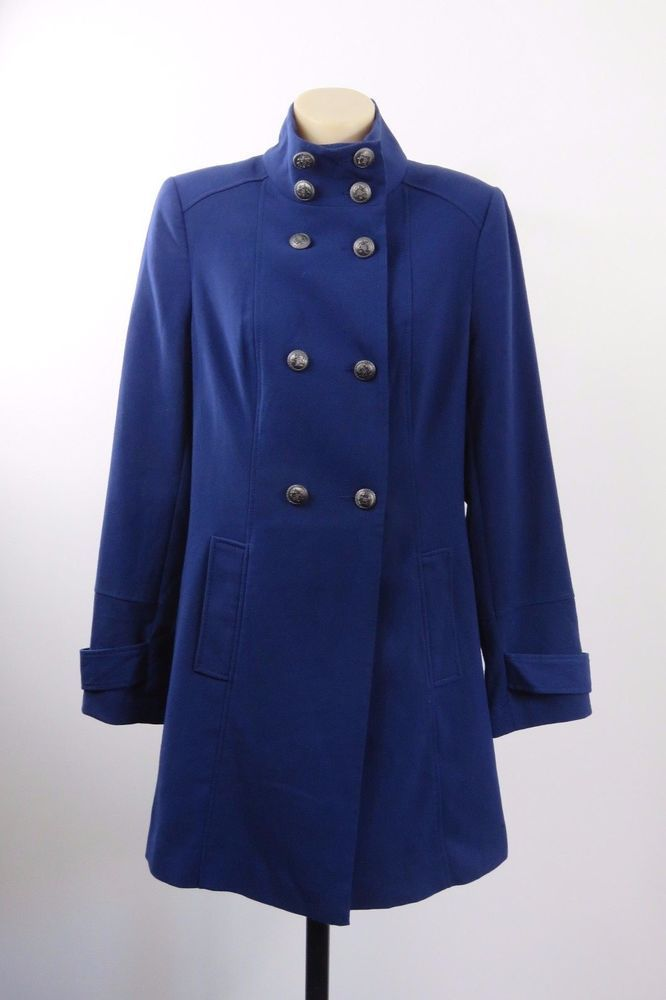 Size M 12 Hot Option Blue Jacket Coat Trench Boho Chic Military Long Work Design #HotOptions #Trench #Business