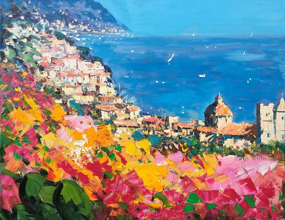 *Title: Positano *Size: 27x35 inch - (70x87 cm) (On request I can paint this subject in other sizes. Please, contact me) *Style: Abstract, Modern, Contemporary *Media: Original oil mixed media panting on canvas by brush and palette knife *Signed front and back, with Certificate of