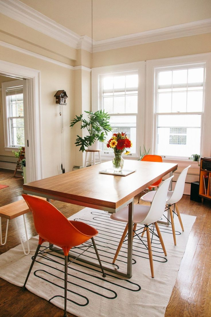 Maybe use the hairpig legs to make a bench for a dining room table // Andrew & Becky's Bright, Eclectic Seattle Apartment