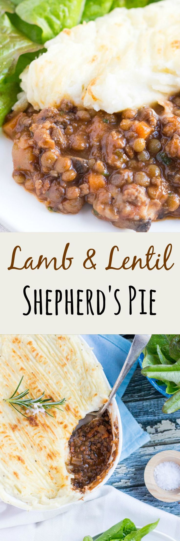 Lamb & Lentil Shepherd's Pie.  Loaded with vegetables and earthy lentils, making a little meat go a long way, this Shepherd's Pie freezes brilliantly.  Make one for now, freeze one for later.