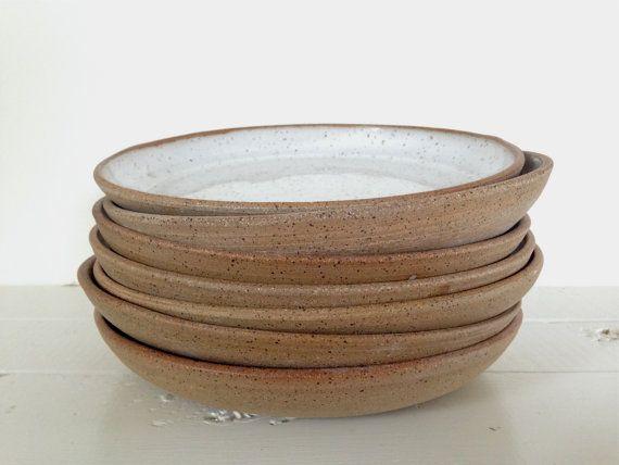Handgemachte Keramik weiß Steingut Pastateller von ProvidenceRoad
