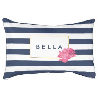 Navy Stripe & Pink Peony Personalized Dog Bed