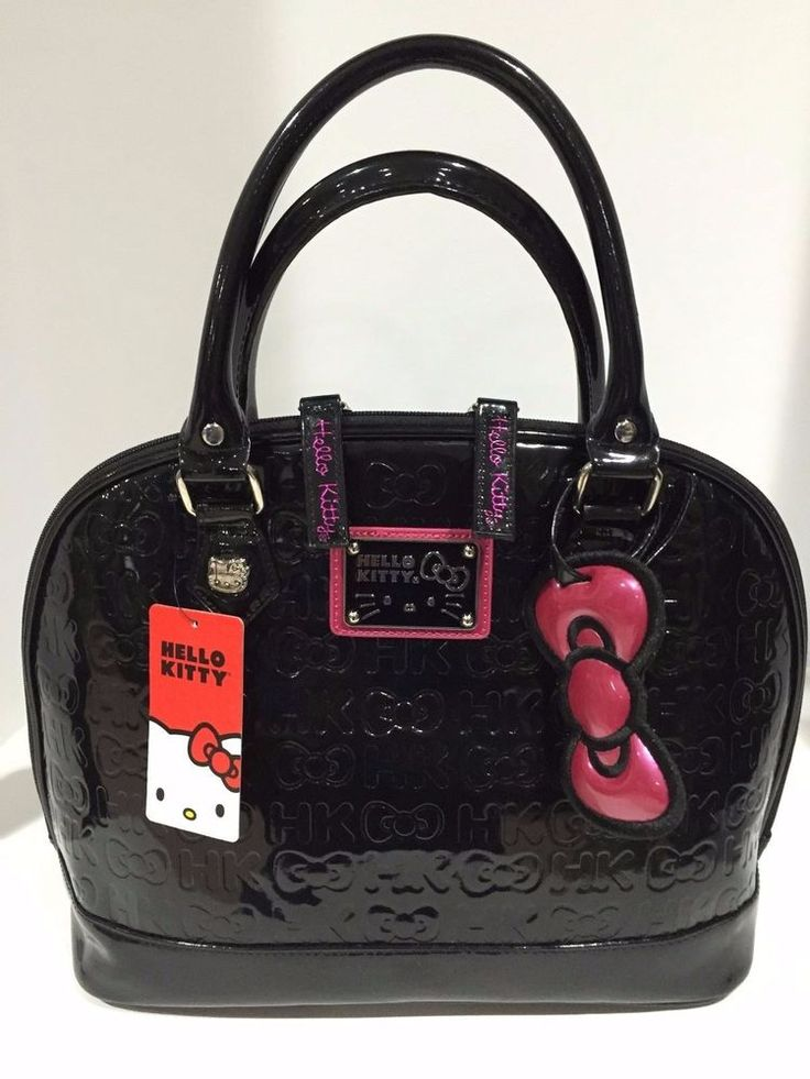 582618128a7b Hello Kitty Sanrio Loungefly Black Embossed Double Handle Patent Tote Bag  NWT