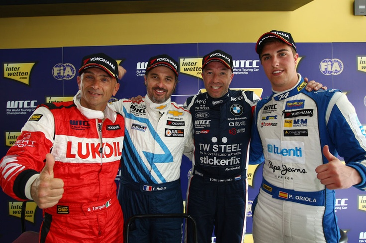 Gabriele Tarquini-Yvan Muller-Tom Coronel-Pepe Oriola after QP