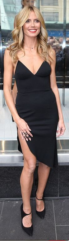 Who made Heidi Klum's black dress and cut out pumps? Dress – Alex Perry shoes – Sergio Rossi