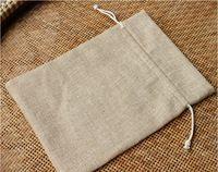 7* 10cm vintage stijl jute zakken koord gift bags voor sieraden/bruiloft/kerst/verjaardag linnen zakje verpakking tassen