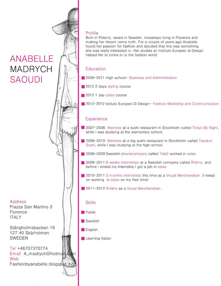 cv fashion cerca con google - Fashion Design Resume Template