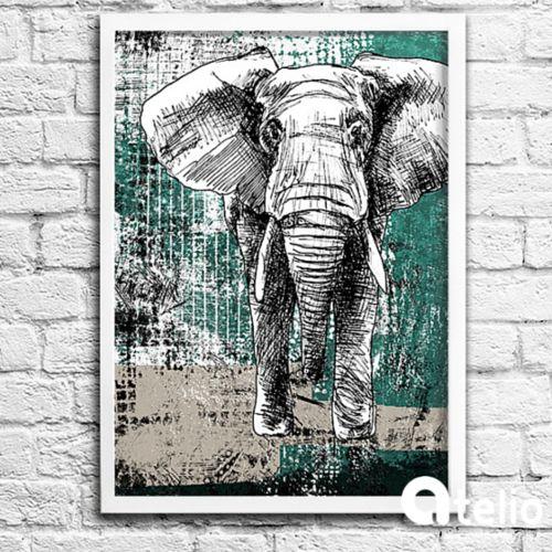 Grafika ze słoniem. Artysta: Mojo Graffi. Do kupienia w atelio.pl