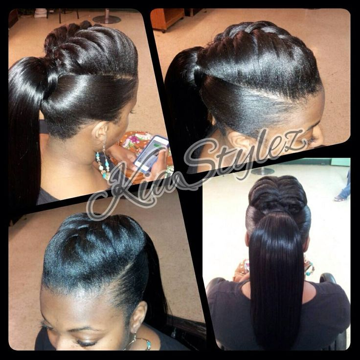 Ponytail with braid detail by @kiastylez - http://www.blackhairinformation.com/community/hairstyle-gallery/relaxed-hairstyles/ponytail-braid-detail-kiastylez/ #ponytail #braid
