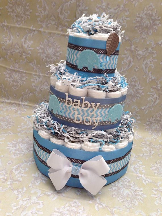 Elephant Grey and Blue Boy Diaper Cake for by MrsHeckelDiaperCakes