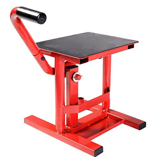 "Motorcycle Racing Offroad Motocross Dirt Adjustable Bike Steel Lift Jack Stand (Red)  solid high-grade steel construction which protects the stand from rust and corrosion  Top surface coated with non-slip material  large handles makes it easy to lift and lower the motorcycle  Height: adjust able from 11.8"" to 15.7"",Size of top surface: 11.1"" x 13.4""  Load capacity: 330 LBS"
