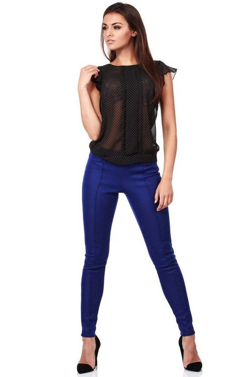 Black translucent women's blouse with  short sleeve