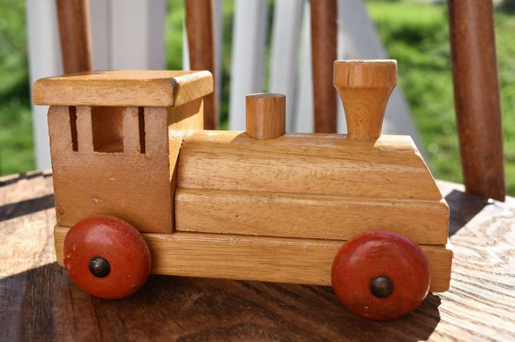 Vintage Wooden Toy Train Engine, Nursery Decor, Baby Shower Gift, Choo CHOO! by Lurrsoppshop on Etsy