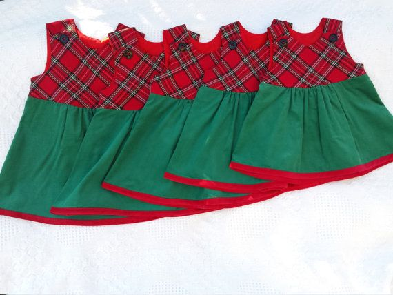 Baby Christmas pictures jumper dress traditional plaid red green corduroy toddler toddlers babies boutique classic baby's santa family photo