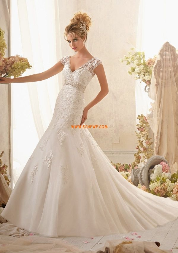 Hala Výstřih do V Tyl Svatební šaty 2014